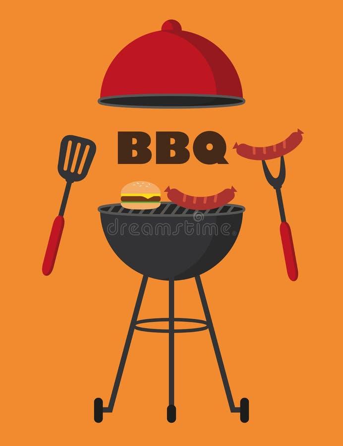 BBQ avec l'hamburger de saucisses de barbecue de bouilloire et les couverts rouges de gril illustration stock