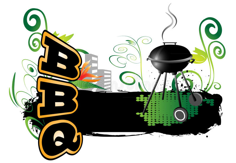 BBQ, background. BBQ with beautiful, colorful background stock illustration