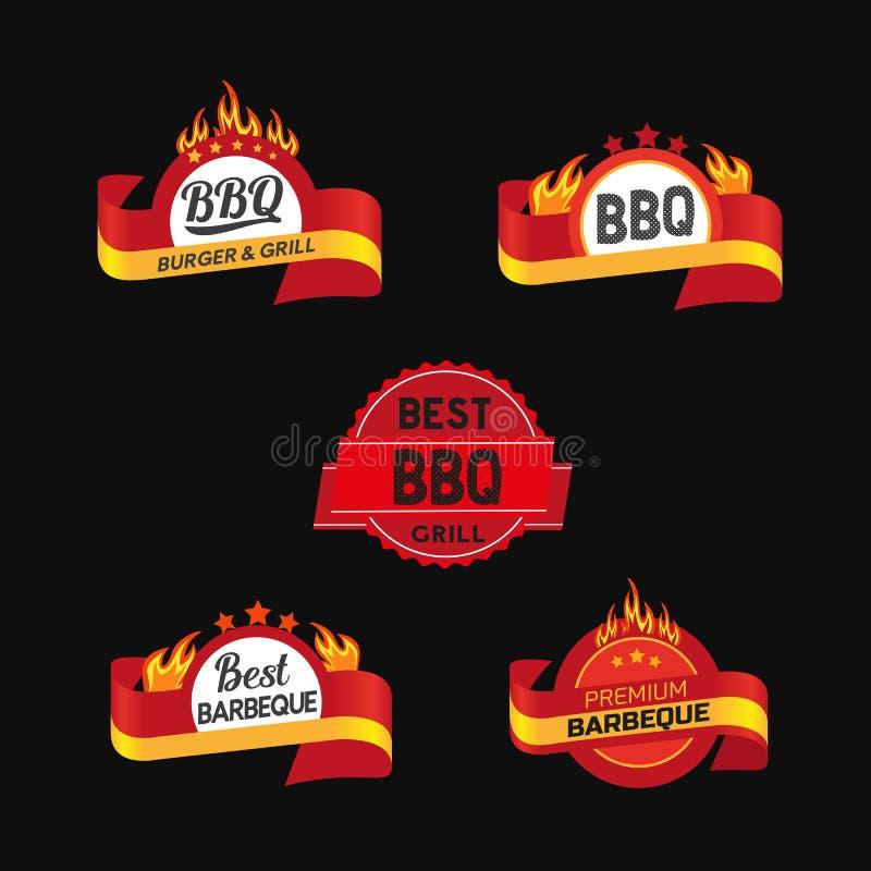BBQ badge icons set vector illustration