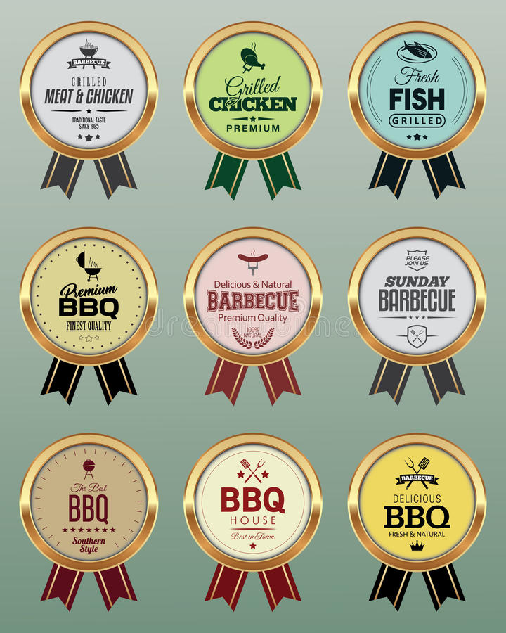 BBQ Badges with Ribbon. Golden BBQ Badges with Ribbon vector illustration
