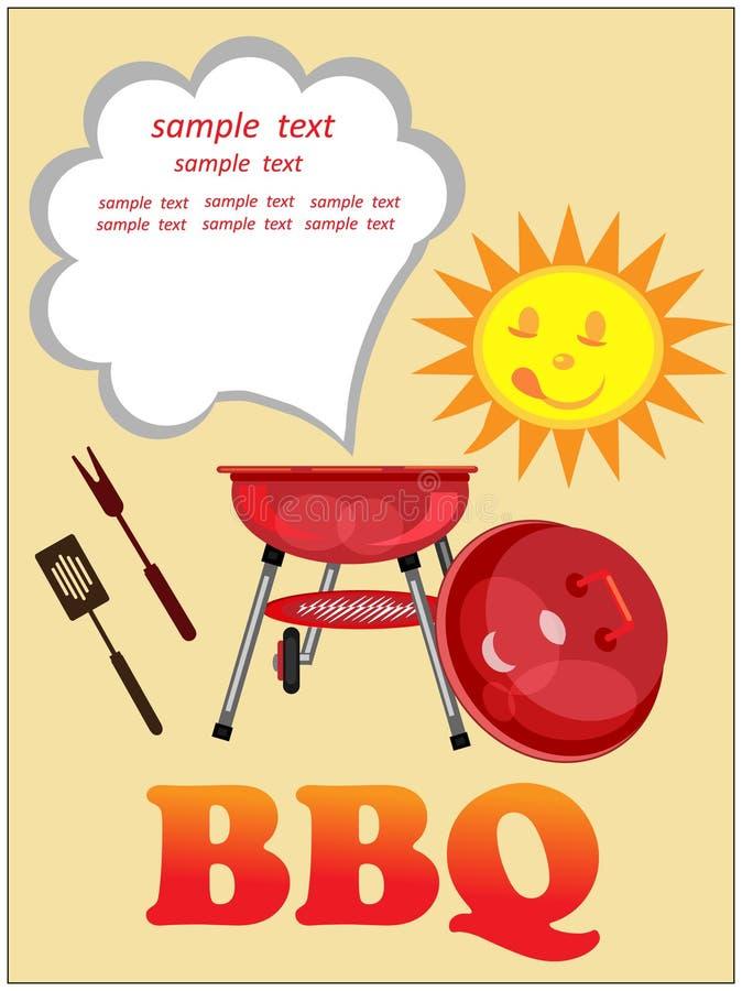 Bbq-bakgrund, hälsningkort. stock illustrationer