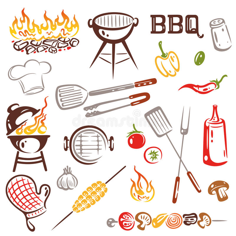 BBQ, barbecue. BBQ, Colorful grilling Set Vector vector illustration
