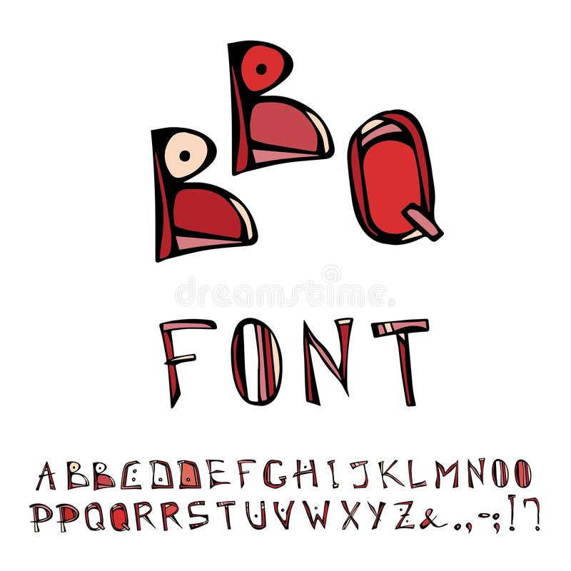 BBQ or Barbecue Decorative Meat Font, Alphabet. Realistic Doodle Cartoon Style Hand Drawn Sketch Vector Illustration.Isolated On a. BBQ or Barbecue Decorative royalty free illustration