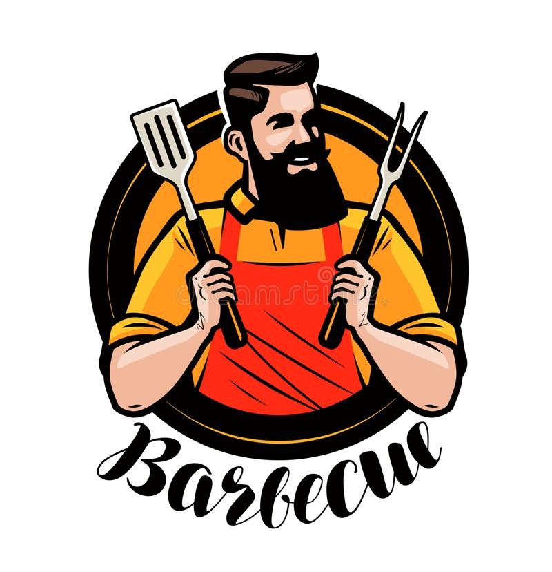 BBQ, barbecue logo or label. Chef or happy cook holding a grill tools spatula and fork. Cartoon vector illustration. BBQ, barbecue logo or label. Chef or happy royalty free illustration