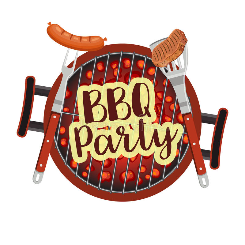 Bbq Barbecue Party Poster. Vector illustration in flat style royalty free illustration