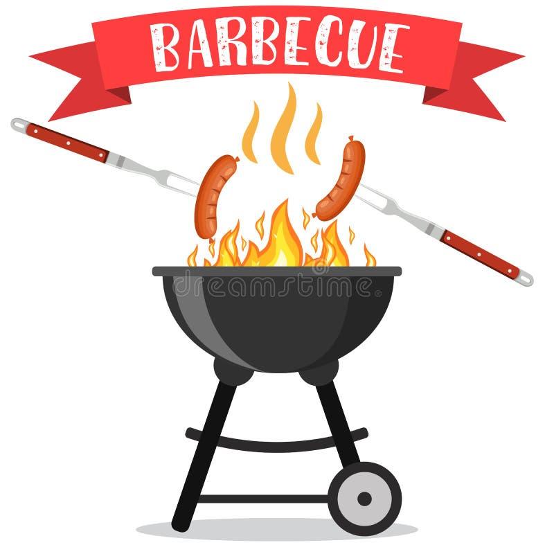 Bbq of barbecuepartijuitnodiging stock illustratie