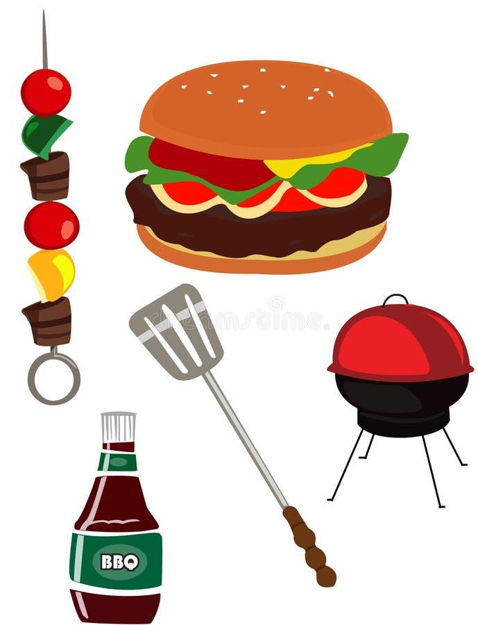 BBQ barbeque. Spatula grill kebob stock illustration