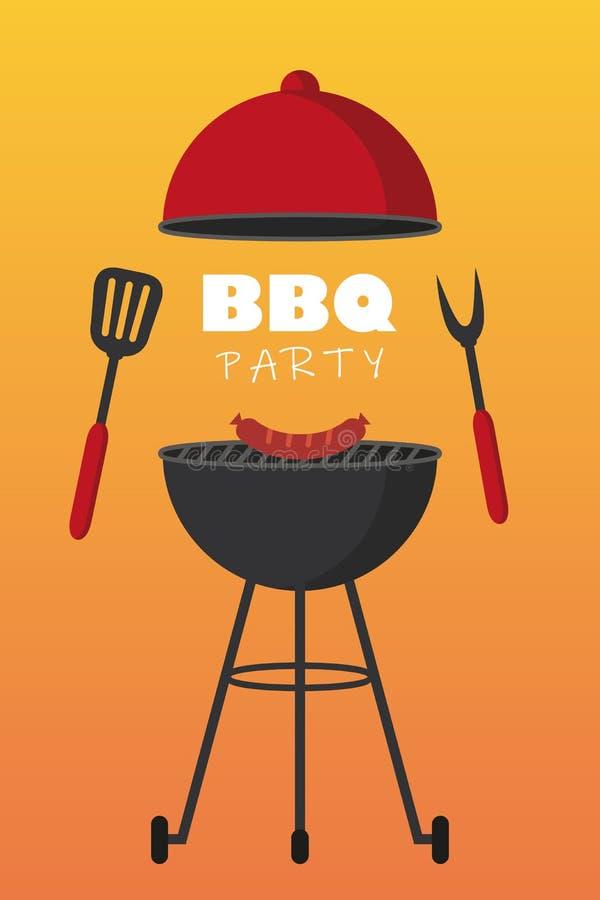 Bbq bawi się czerwonego czajnika grilla z kiełbasy i grilla cutlery ilustracja wektor