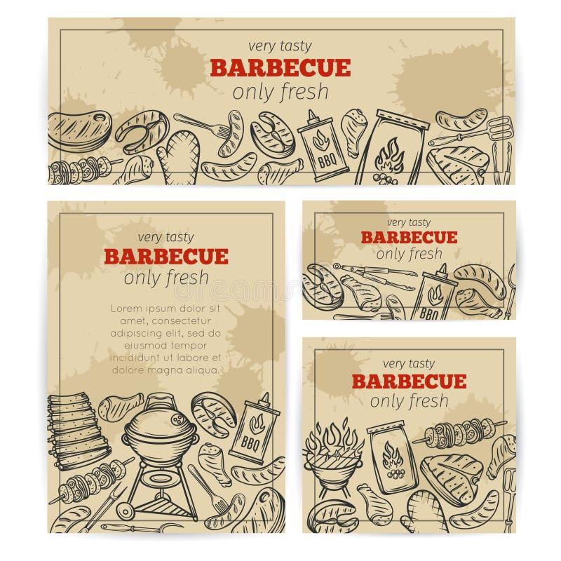 BBQ bawi się szablon z mięsem, kurczak, ryba ilustracja wektor