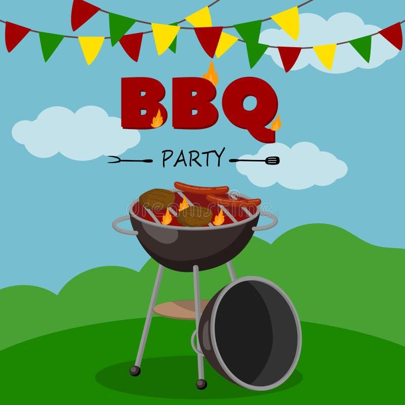 BBQ bawi się sztandar, kreskówka stylowy plakat, mile widziany zaproszenie grill pykniczna wektorowa ilustracja ilustracji