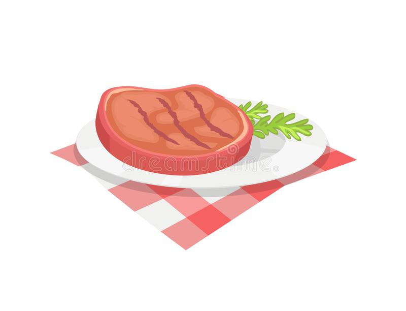 BBQ Beefsteak on Plate Herb Vector Illustration. BBQ beefsteak meal on plate with herb. Condiment of beef roasted meat barbeque food served with branch of plant stock illustration
