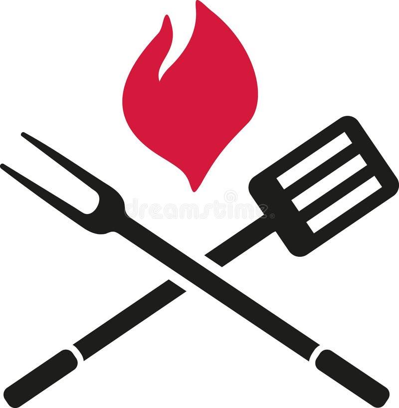 Bbq-bestick med flamman stock illustrationer