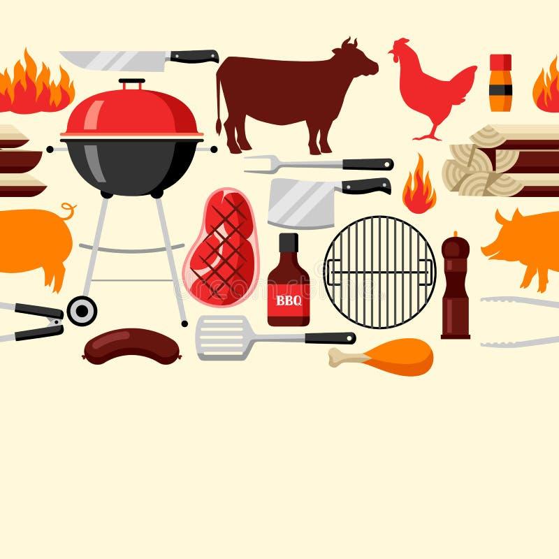 Bbq bezszwowy wzór z grill ikonami i przedmiotami ilustracja wektor