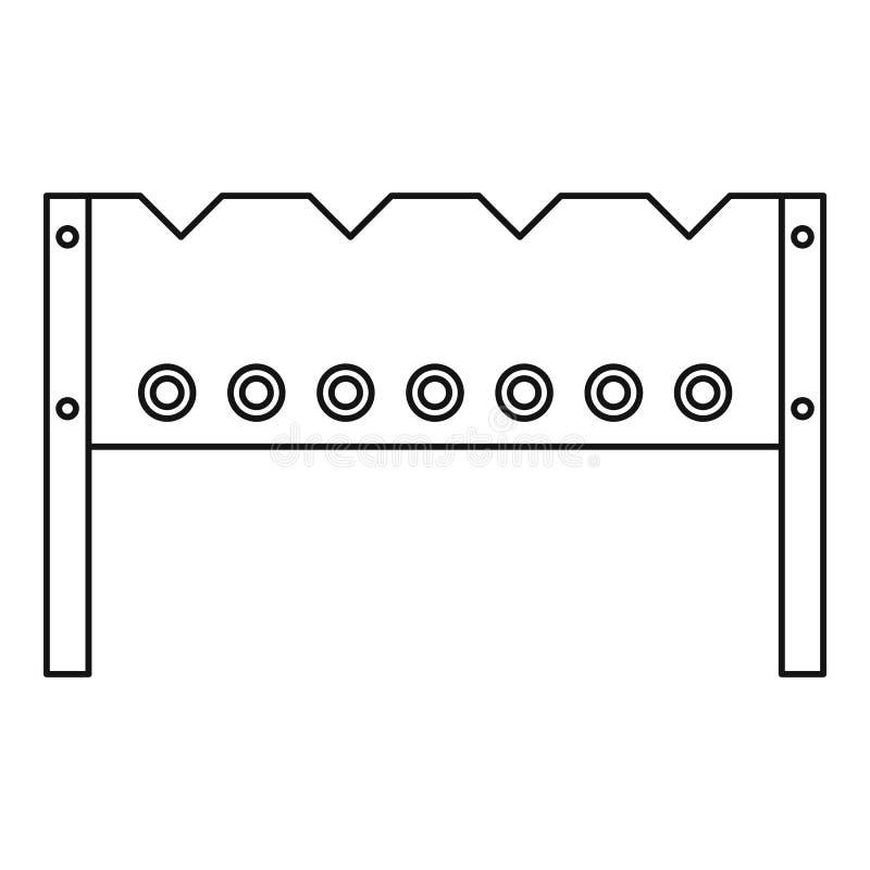 BBQ brązownika ikona, konturu styl ilustracja wektor