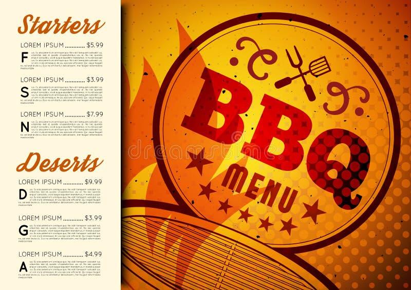 BBQ broszurki menu projekt ilustracja wektor