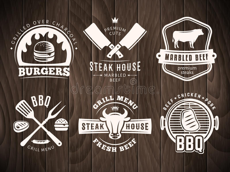 BBQ, burger, διακριτικά σχαρών διανυσματική απεικόνιση