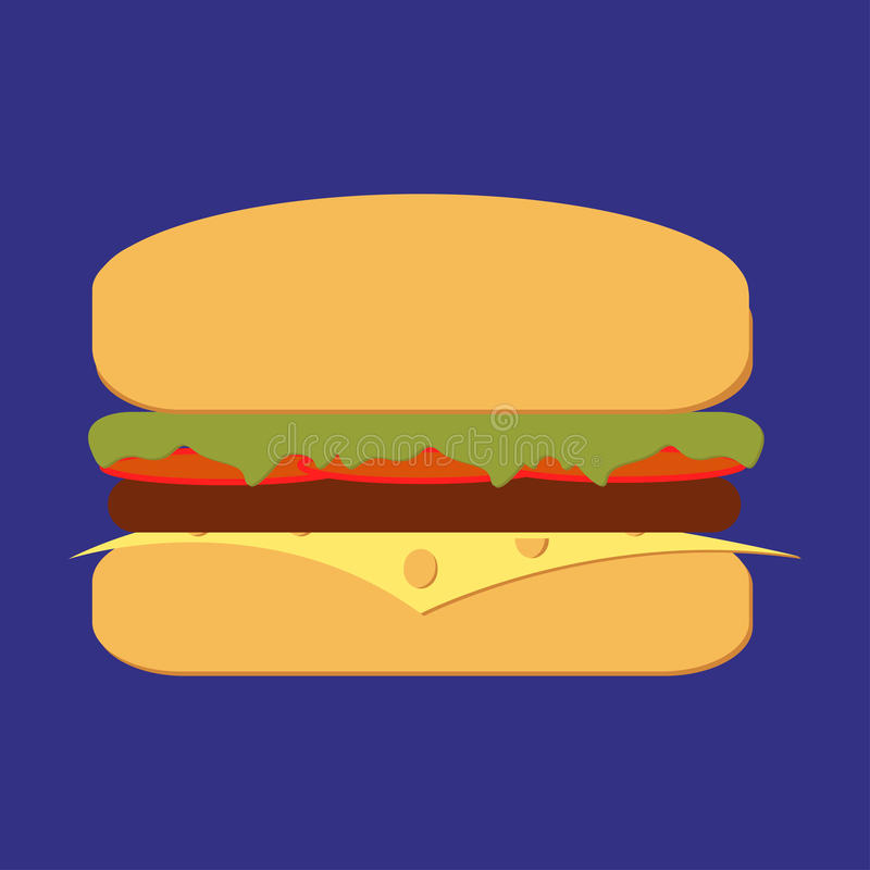 Bbq burger. Burger grill vector. Burger in flat style. Burger isolated from background. Sub Burger with lettuce, tomato, meat and cheese bbq. Ham and vegetable vector illustration