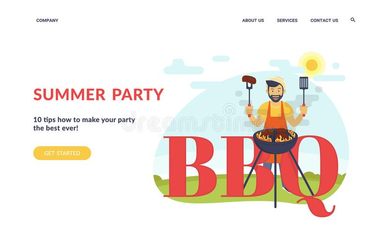 BBQ che cucina partito illustrazione vettoriale