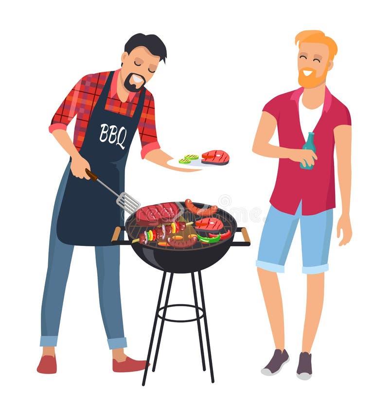BBQ Cheaf z jego przyjacielem, udział Wyśmienicie jedzenie ilustracji