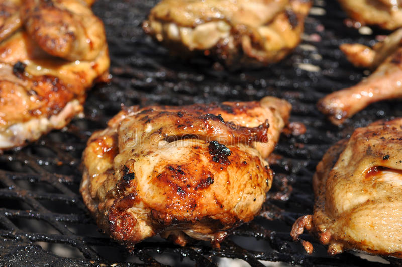 BBQ Chicken on Grill. BBQ Barbecue Chicken on Grill