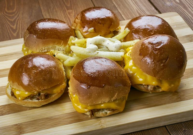 BBQ Chicken Slider Ring. Fast food combine shredded chicken, red onion, and BBQ sauce stock photography