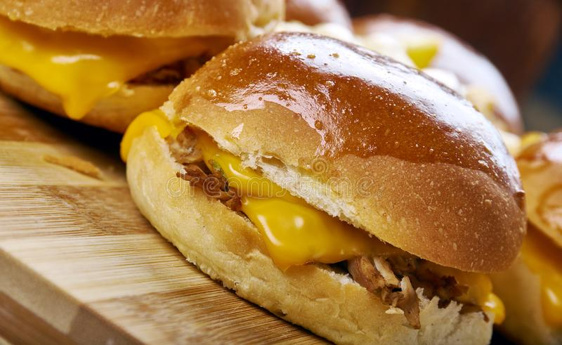 BBQ Chicken Slider Ring. Fast food combine shredded chicken, red onion, and BBQ sauce royalty free stock photos
