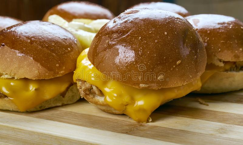 BBQ Chicken Slider Ring. Fast food combine shredded chicken, red onion, and BBQ sauce stock image