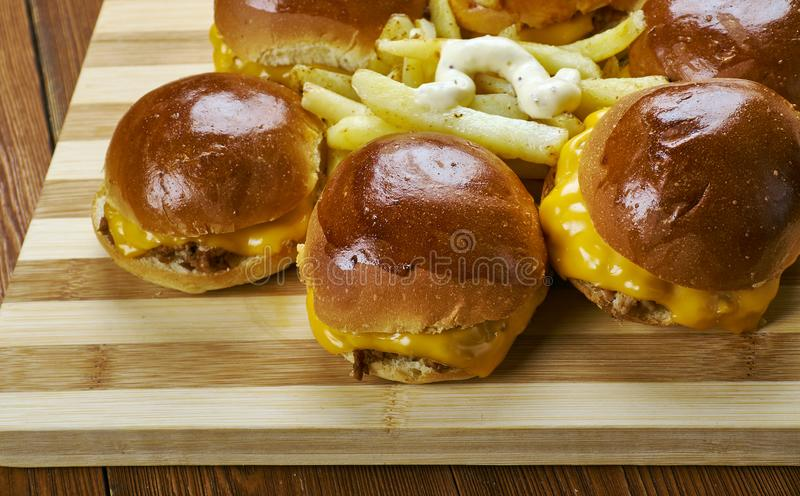 BBQ Chicken Slider Ring. Fast food combine shredded chicken, red onion, and BBQ sauce stock photo