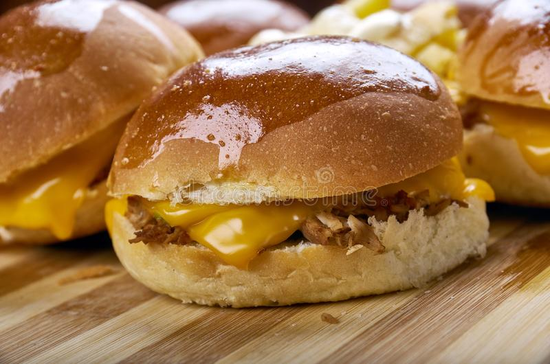BBQ Chicken Slider Ring. Fast food combine shredded chicken, red onion, and BBQ sauce royalty free stock photography