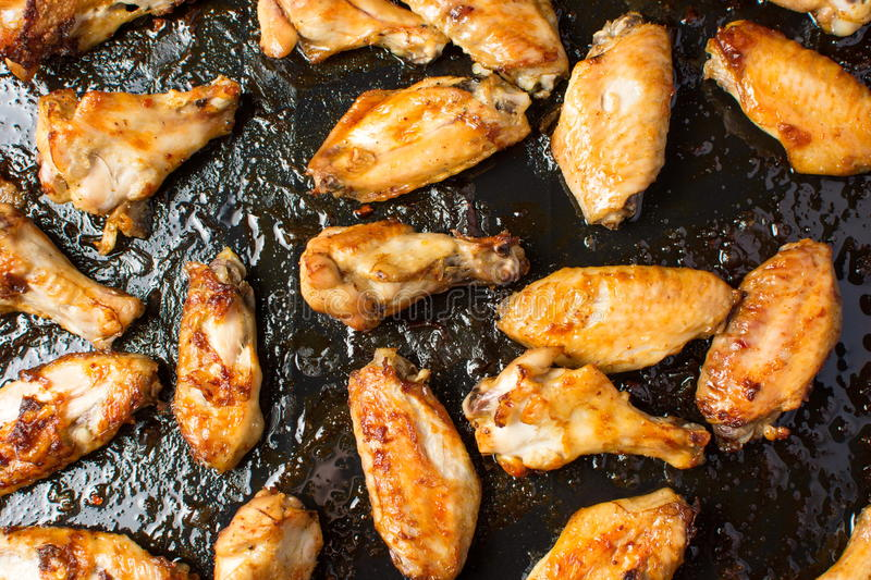 Download Bbq Chicken Wings On A Black Plate Stock Photo - Image: 83721488