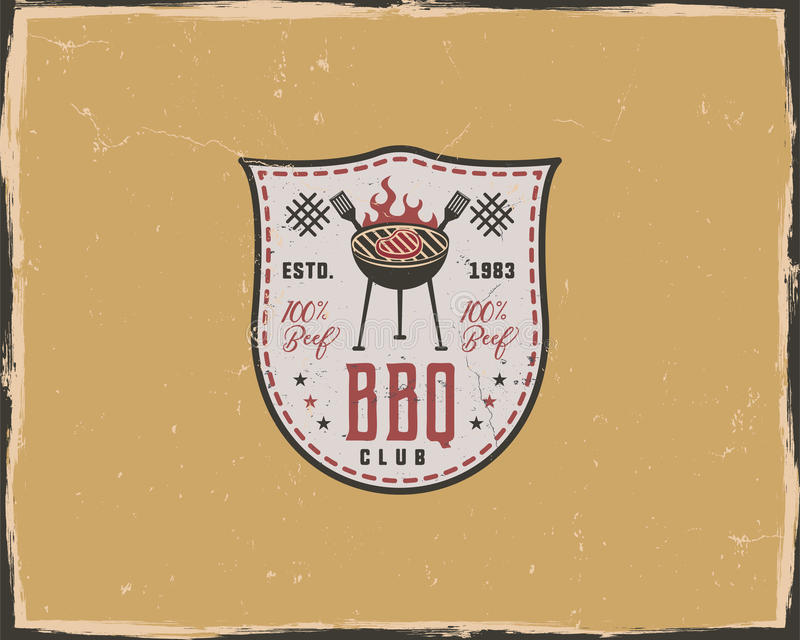 BBQ club typography poster template in retro old style. Offset and letterpress design. Letter press label, emblem stock illustration