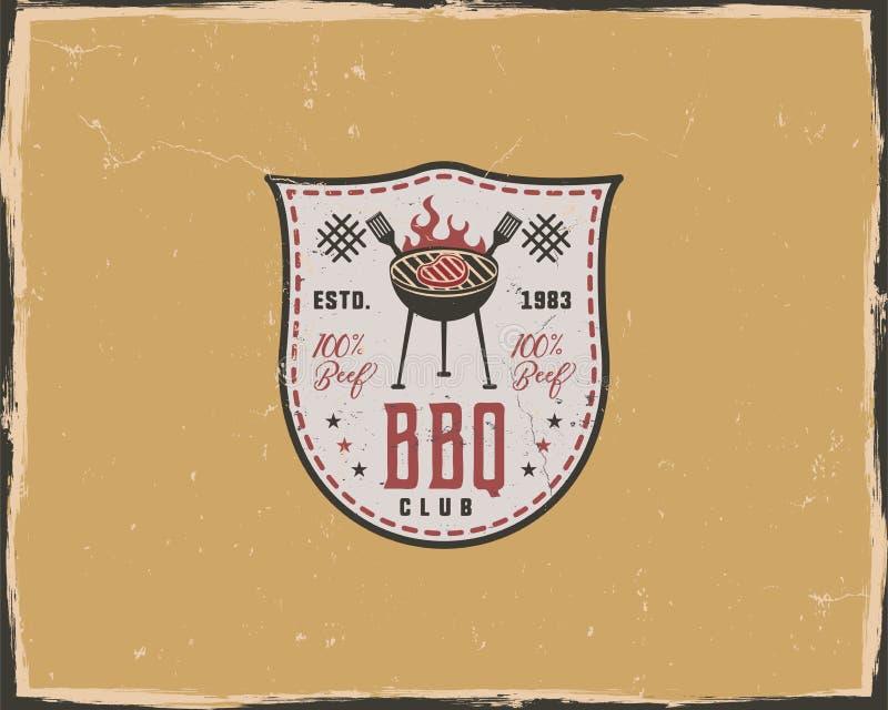 Bbq-Clubtypographie-Plakatschablone in Retro- im altem Stil Ausgleich und Briefbeschwererdesign Buchstabepresseaufkleber, Emblem vektor abbildung