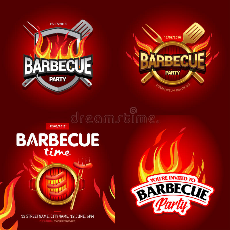 BBQ 4 colorful poster designs, party design, invitation, ad design. Barbecue logo. BBQ template menu design. Barbecue Food flyer. royalty free illustration