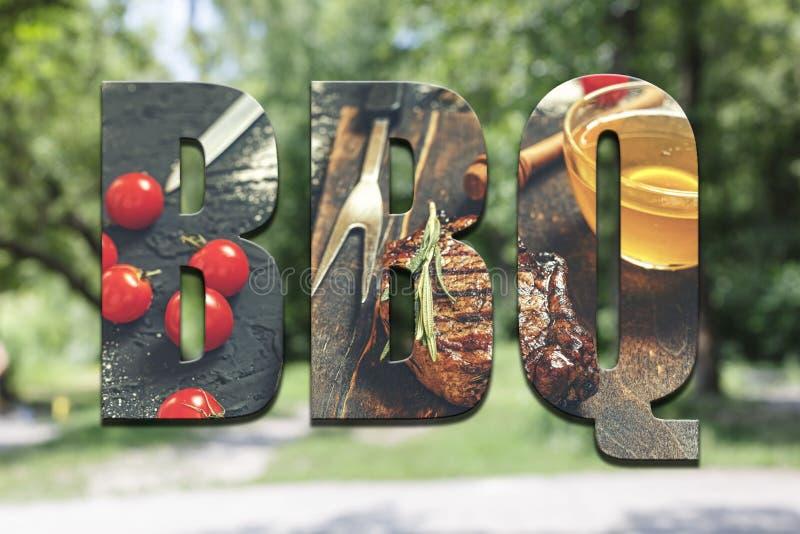 BBQ, concetto, picnic di estate, alimento, all'aperto, picnic, bbq, più lifest fotografia stock libera da diritti