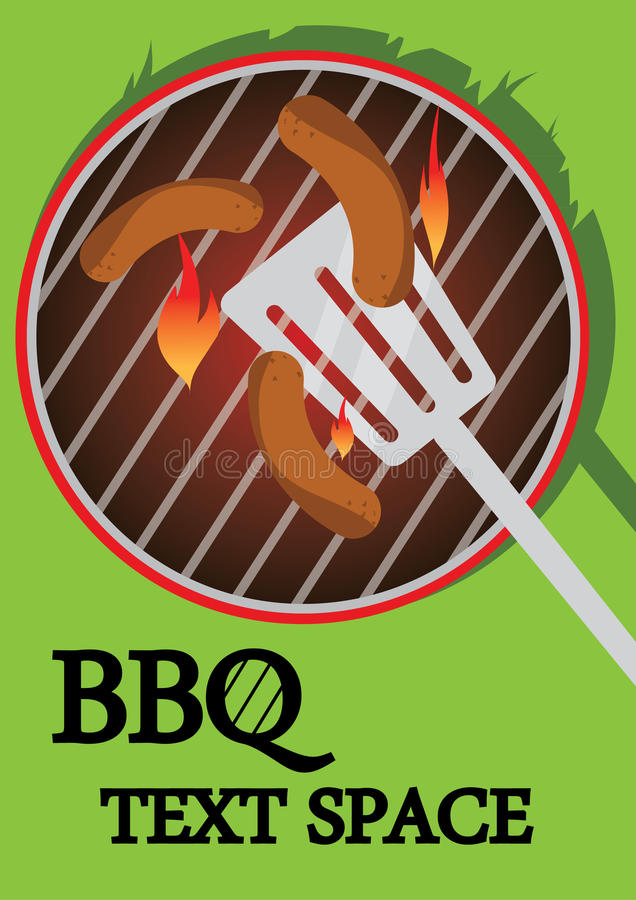 BBQ cooking. BBQ illustration of some sausages cooking on a sizzling hot BBQ with a spatula. Illustrator Eps version 8. Illustration also has writing space royalty free illustration