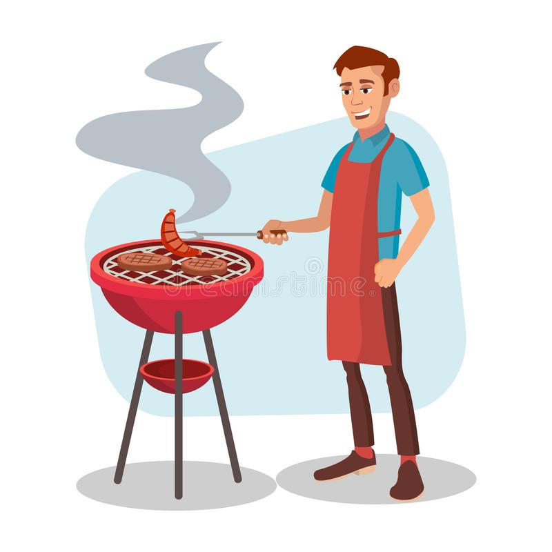 BBQ Cooking Vector. Man Cook Grill Meat On Bbq. Flat Cartoon Character Illustration. BBQ Party Vector. Barbecue Tools, Grill, Forks With Happy Man. Flat Cartoon vector illustration