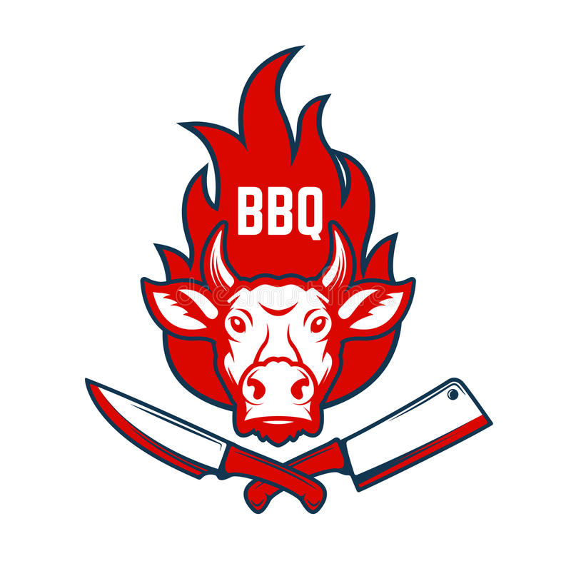BBQ. Cow head on fire background, knife and meat cleaver. Design stock illustration