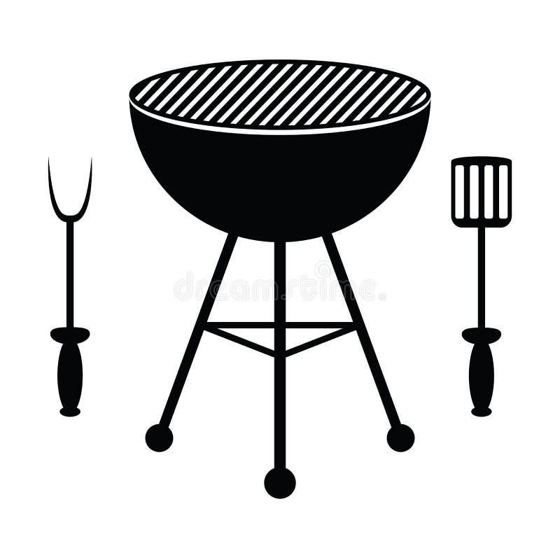 BBQ cutlery i grill royalty ilustracja