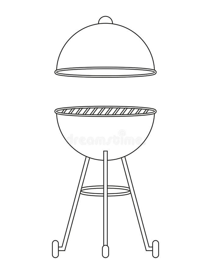 Bbq czajnika grilla konturu rysunek odizolowywający na białym tle ilustracji