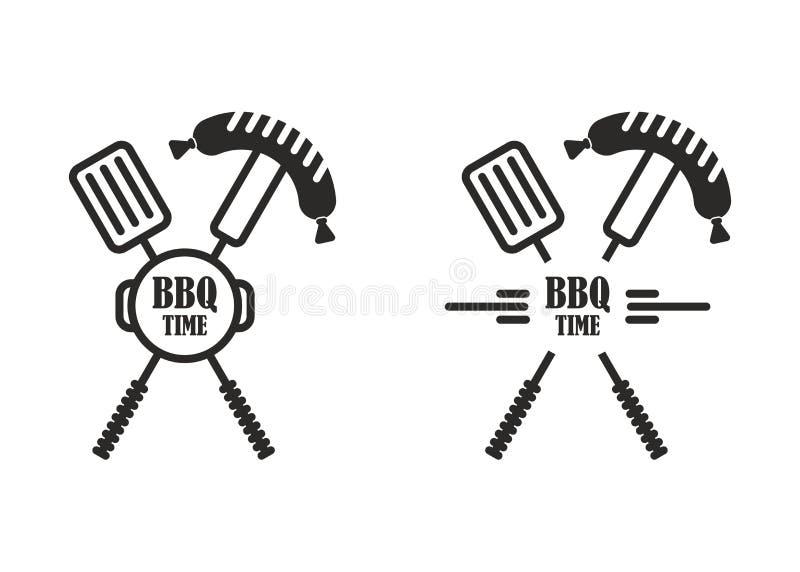 Bbq czasu etykietki szpachelki rozwidlenie ilustracja wektor