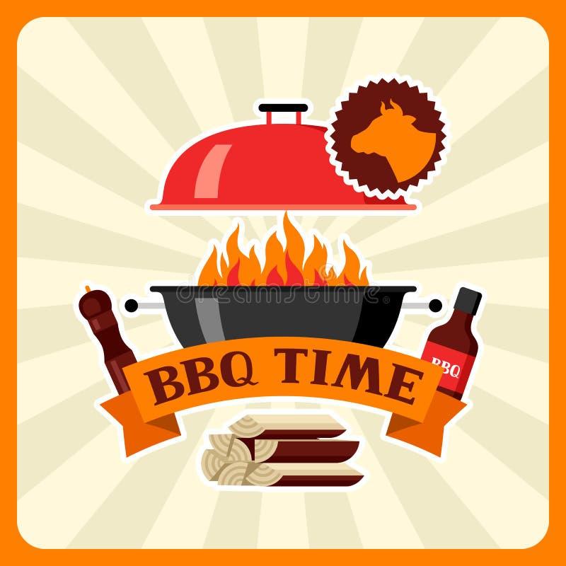 Bbq czasu karta z grill ikonami i przedmiotami ilustracji