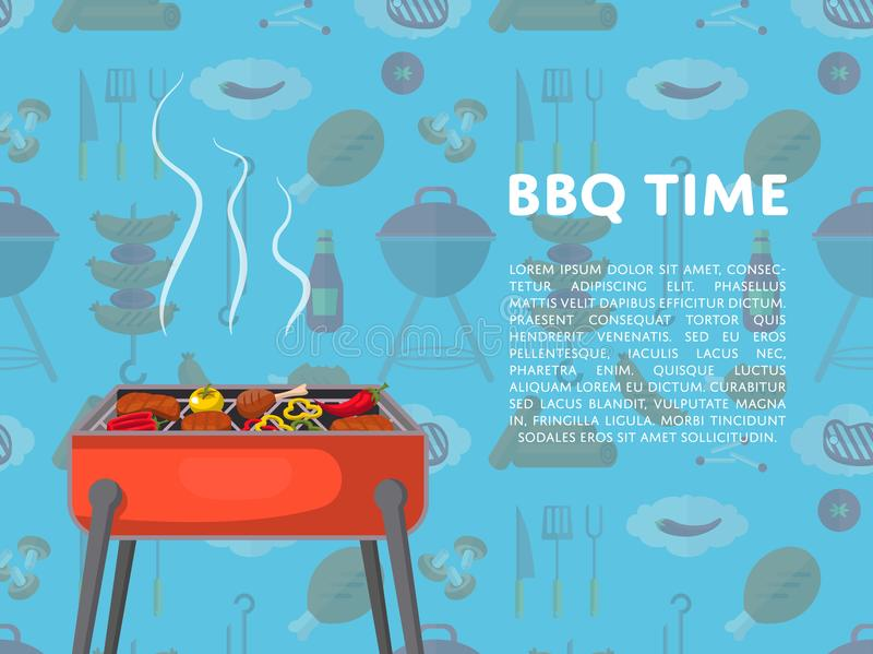 BBQ czasu plakat z węgli drzewnych grillami ilustracji
