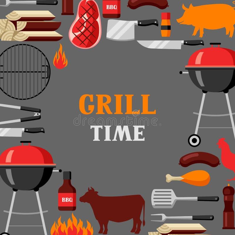 Bbq czasu tło z grill ikonami i przedmiotami ilustracja wektor