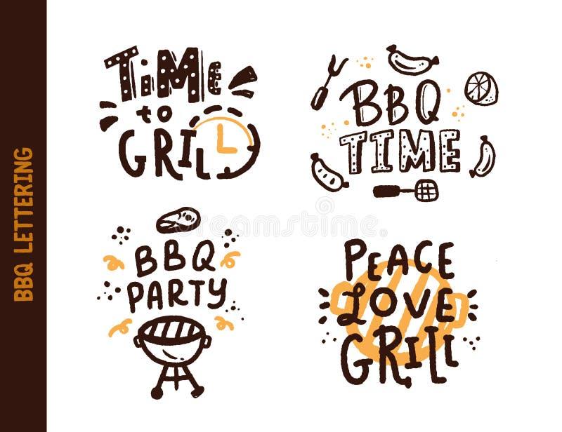 BBQ czasu ustalony literowanie o grillu odizolowywającym na blackboard r?wnie? zwr?ci? corel ilustracji wektora Grilla tekst dla  ilustracji