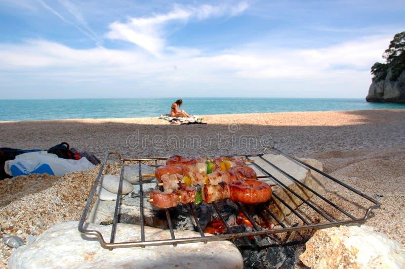 BBQ da praia imagens de stock