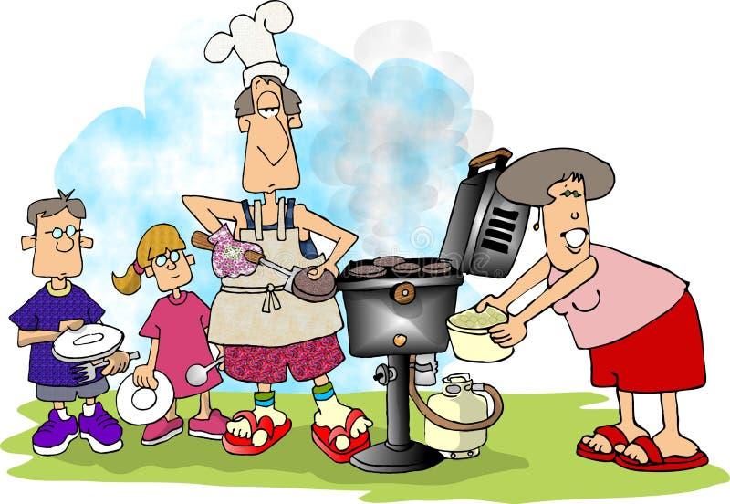 Bbq de la familia ilustración del vector
