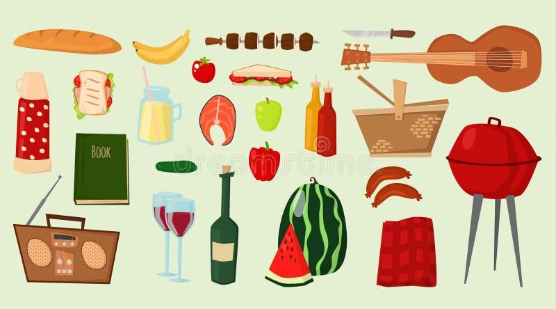 Bbq de los productos alimenticios de los iconos del vector de la barbacoa que asa a la parrilla productos al aire libre del parti stock de ilustración