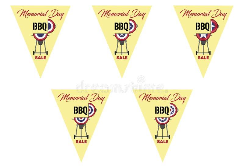BBQ de Memorial Day sur des drapeaux d'étamine de triangle illustration de vecteur