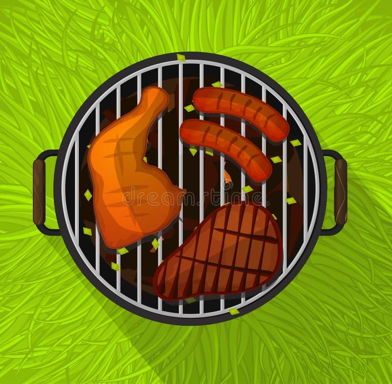 Bbq del verano, piernas de pollo, salchicha y filete de carne de vaca que asa a la parrilla, plano ilustración del vector