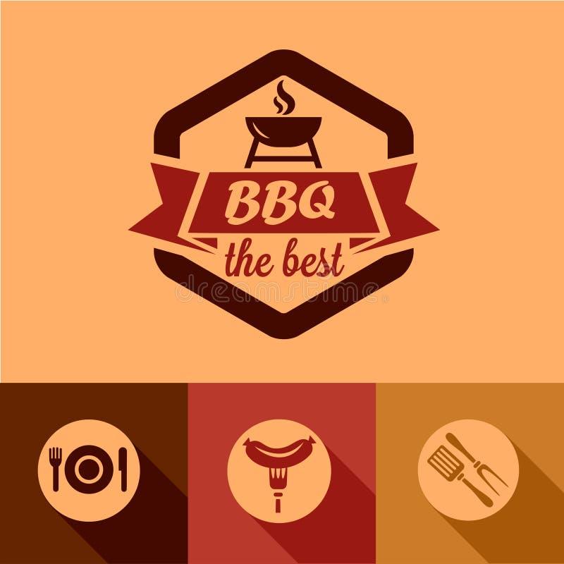 Bbq design elements. Illustration of BBQ Design Elements in Flat Design Style royalty free illustration